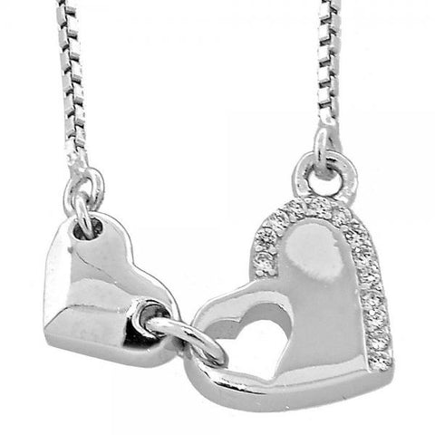 Sterling Silver 04.176.0009.18 Fancy Necklace, Heart and Box Design, with White Micro Pave, Polished Finish, Rhodium Tone