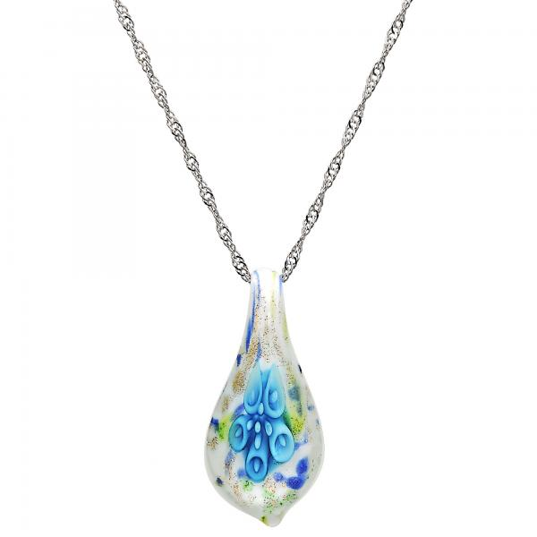 Gold Tone 04.276.0023.18.GT Fancy Necklace, Flower Design, with Aqua Blue Azavache, Polished Finish, Rhodium Tone