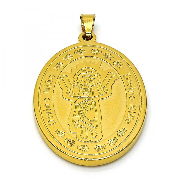 Stainless Steel 05.247.0001 Religious Pendant, Divino Niño Design, Polished Finish, Golden Tone