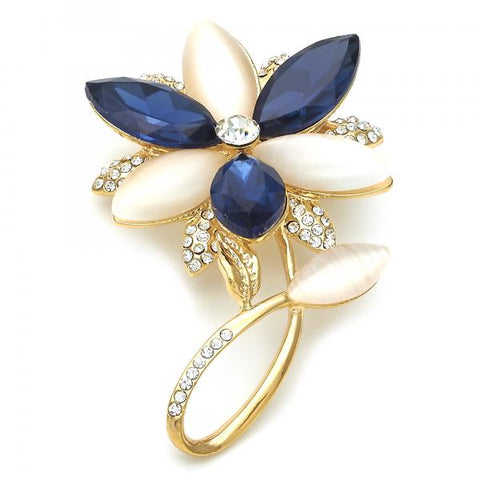 Gold Layered Basic Brooche, Flower Design, with Crystal and Opal, Golden Tone