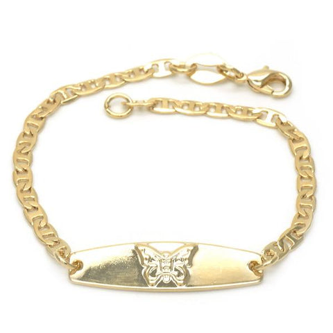 Gold Layered 03.32.0102.06 ID Bracelet, Butterfly and Mariner Design, Golden Tone