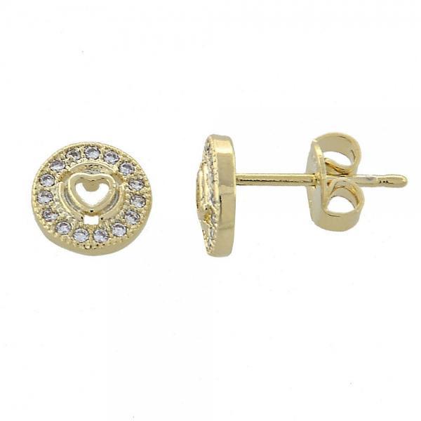 Gold Layered 02.156.0028 Stud Earring, Heart Design, with White Micro Pave, Polished Finish, Golden Tone