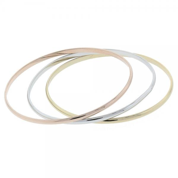 Gold Layered 5.233.009.06 Trio Bangle, Polished Finish, Tri Tone
