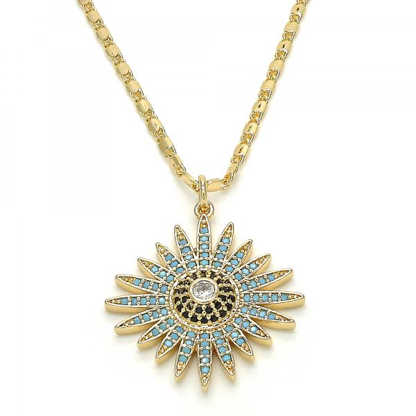 Gold Layered 04.233.0022.20 Fancy Necklace, with White Cubic Zirconia and Multicolor Micro Pave, Polished Finish, Golden Tone