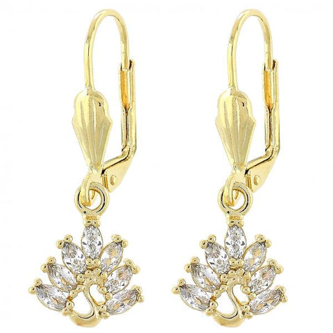 Gold Layered Dangle Earring, Peacock Design, with Cubic Zirconia, Gold Tone