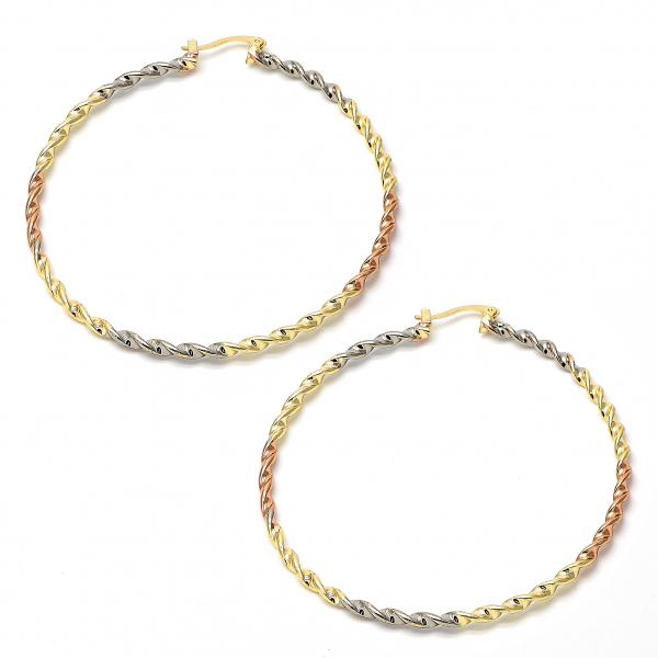 Gold Plated 02.70.0020.65 Extra Large Hoop, Twist Design, Polished Finish, Tri Tone
