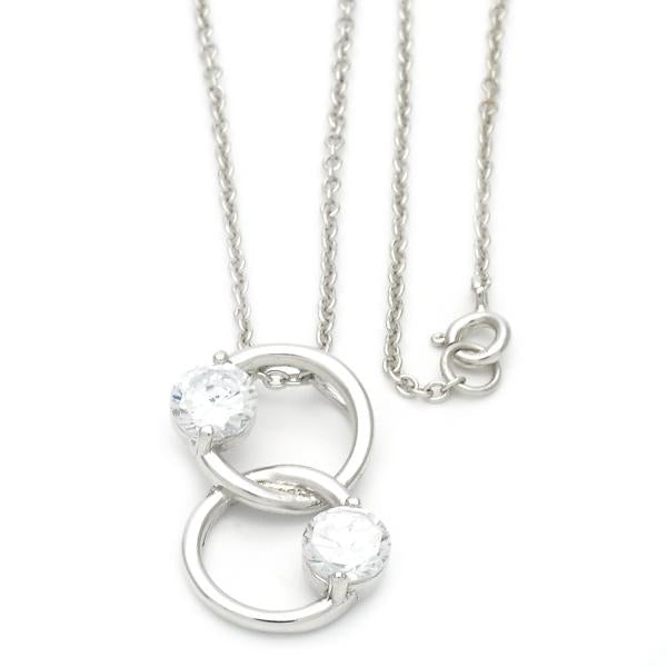 Sterling Silver 10.174.0149.18 Fancy Necklace, with White Cubic Zirconia, Polished Finish, Golden Tone