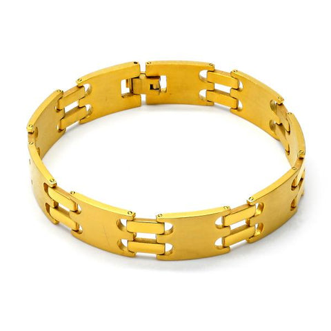 Stainless Steel 03.63.1416.08 Solid Bracelet, Polished Finish, Golden Tone