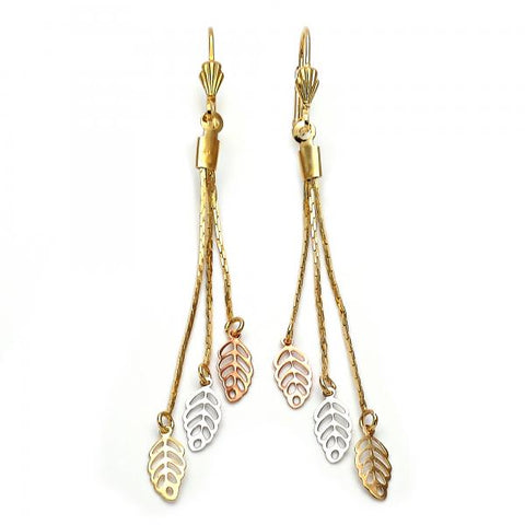 Gold Layered 02.63.2114 Long Earring, Leaf and Long Box Design, Polished Finish, Tri Tone