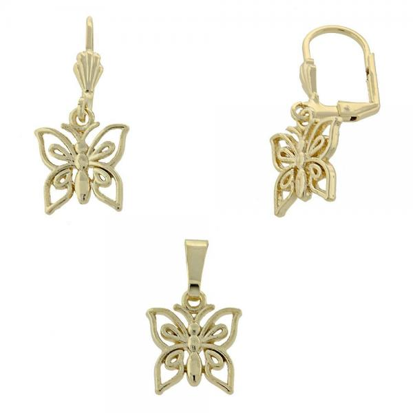 Gold Layered 10.179.0017 Earring and Pendant Adult Set, Golden Tone