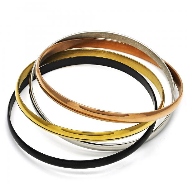 Stainless Steel 07.244.0003.06 Set Bangle, Polished Finish, Tri Tone (05 MM Thickness, Size 6 - 2.75 Diameter)