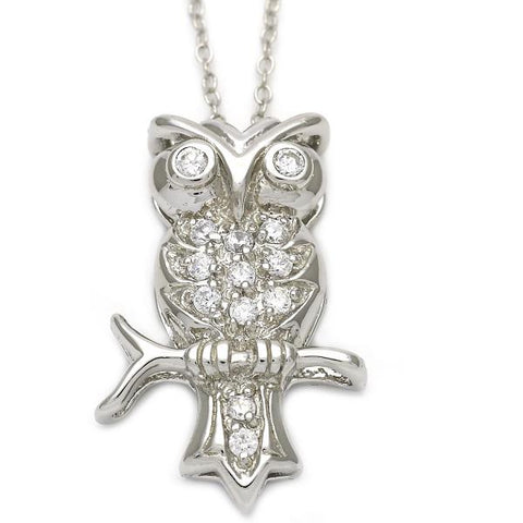 Sterling Silver 10.174.0153.18 Fancy Necklace, Owl Design, with White Cubic Zirconia, Polished Finish, Silver Tone