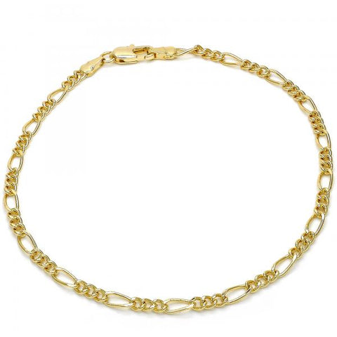 Gold Layered 03.63.1842.10 Basic Anklet, Figaro Design, Polished Finish, Golden Tone