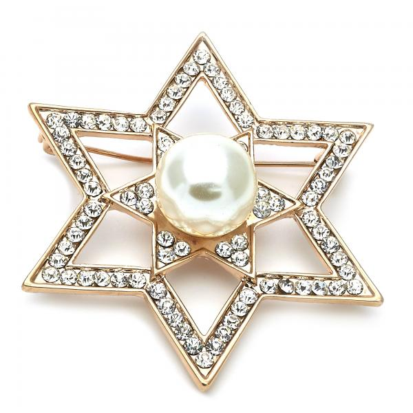 Gold Layered 13.181.0029 Basic Brooche, Star Design, with Ivory Pearl and White Crystal, Polished Finish, Golden Tone