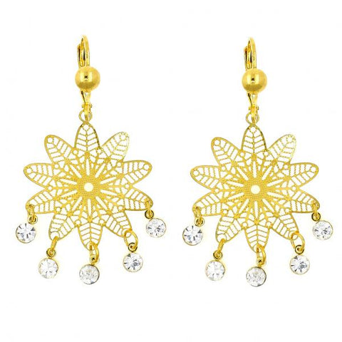 Gold Layered 02.211.0007 Chandelier Earring, Flower and Filigree Design, with White Crystal, Polished Finish, Golden Tone