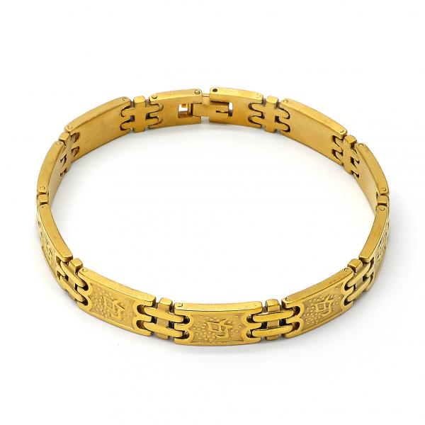 Stainless Steel 03.63.1417.08 Solid Bracelet, Matte Finish, Golden Tone