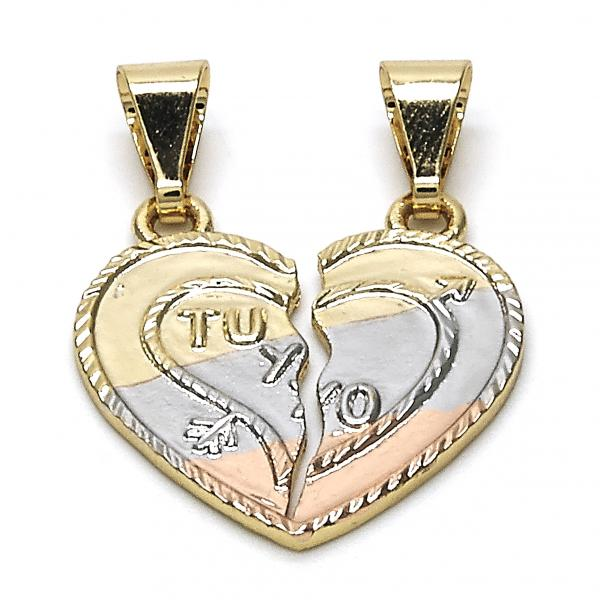 Gold Layered 05.253.0016 Fancy Pendant, Heart Design, Polished Finish, Tri Tone
