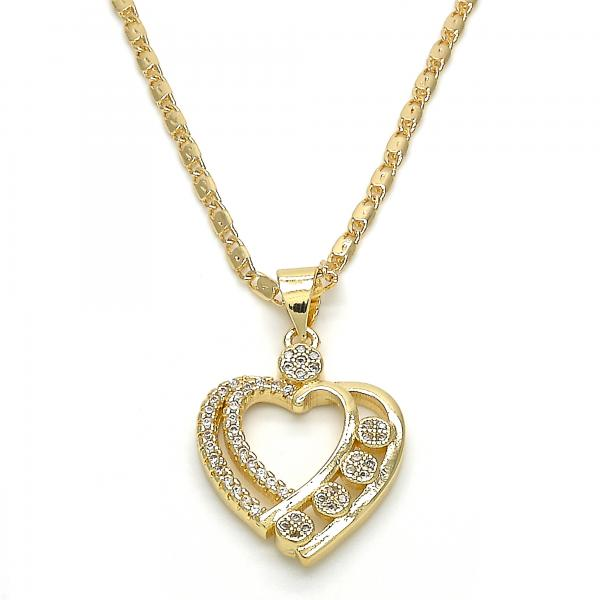 Gold Layered 04.195.0016.20 Fancy Necklace, Heart Design, with White Micro Pave, Polished Finish, Golden Tone