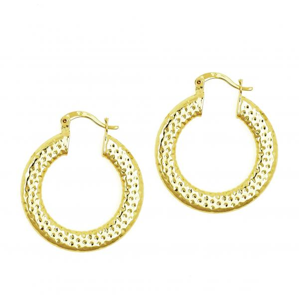 Gold Layered 02.170.0071.30 Medium Hoop, Hollow Design, Green Diamond Cutting Finish, Gold Tone