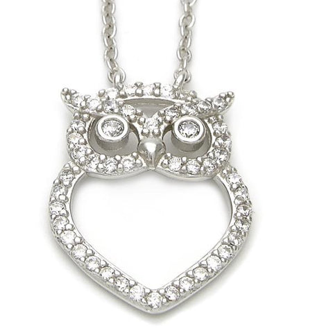 Sterling Silver 10.174.0157.18 Fancy Necklace, Owl Design, with White Cubic Zirconia, Polished Finish, Silver Tone