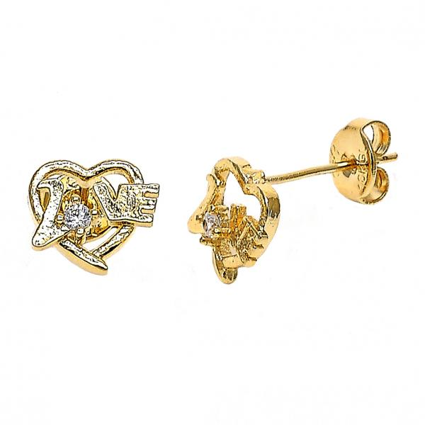 Gold Layered 02.165.0160 Stud Earring, Heart and Love Design, with White Cubic Zirconia, Polished Finish, Golden Tone