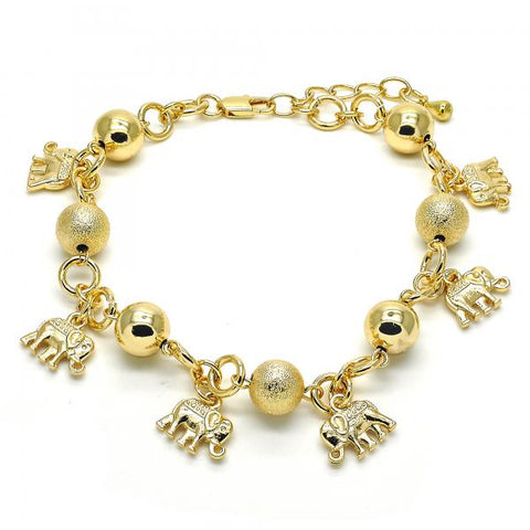 Gold Layered 03.179.0052.10 Charm Anklet , Elephant Design, Matte Finish, Golden Tone