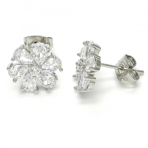 Rhodium Plated 02.213.0099 Stud Earring, Flower Design, with White Cubic Zirconia, Polished Finish, Rhodium Tone