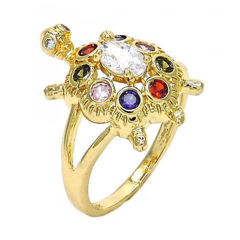 Gold Layered Multi Stone Ring, Turtle Design, with Cubic Zirconia, Golden Tone
