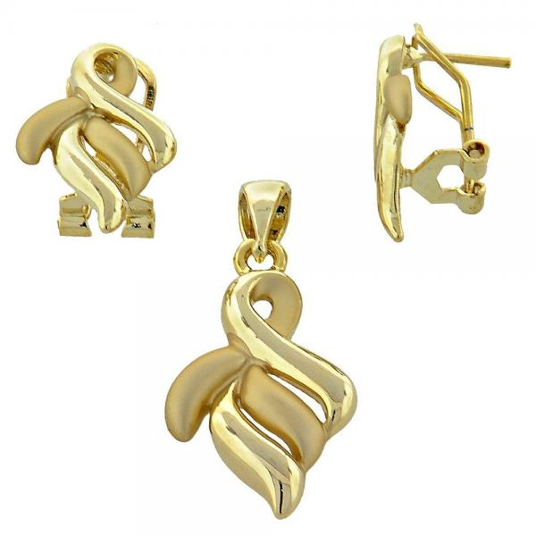 Gold Layered 10.59.0122 Earring and Pendant Adult Set, Matte Finish, Golden Tone