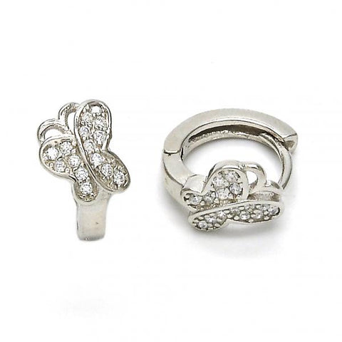 Sterling Silver 02.175.0086.15 Huggie Hoop, Butterfly Design, with White Crystal, Polished Finish, Rhodium Tone