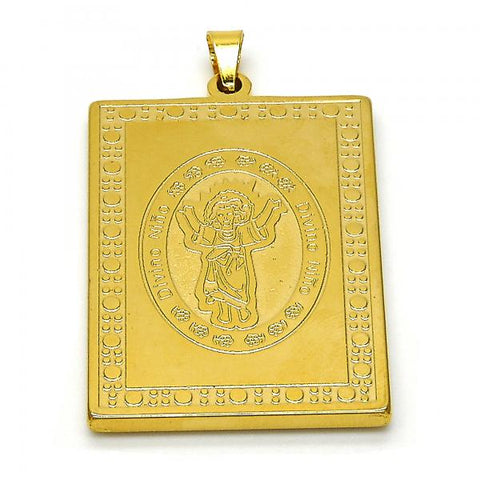 Stainless Steel 05.247.0005 Religious Pendant, Divino Niño Design, Polished Finish, Golden Tone