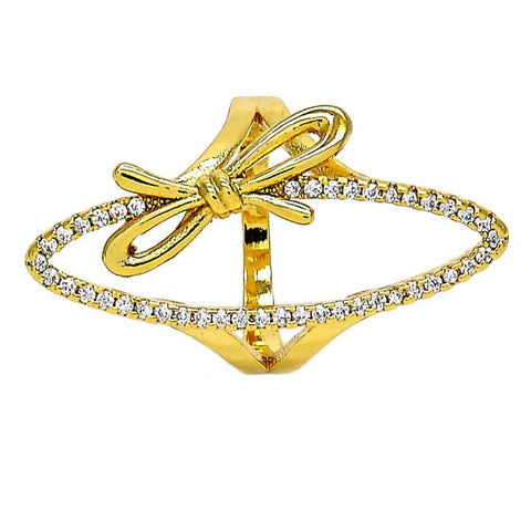Gold Layered Multi Stone Ring, Bow Design, with Crystal, Golden Tone