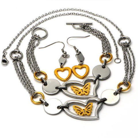 Stainless Steel 06.231.0026 Necklace, Bracelet and Earring, Butterfly and Heart Design, Polished Finish, Two Tone