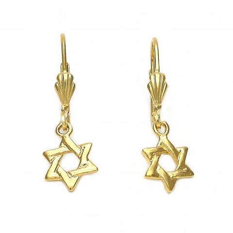 Gold Layered 5.123.029 Dangle Earring, Star and Star of David Design, Polished Finish, Golden Tone
