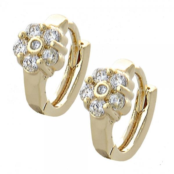 Gold Layered 02.155.0046 Huggie Hoop, Flower Design, with White Cubic Zirconia, Polished Finish, Golden Tone