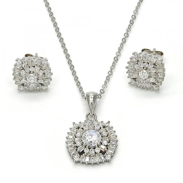 Sterling Silver 10.281.0016 Earring and Pendant Adult Set, with White Cubic Zirconia, Polished Finish, Rhodium Tone