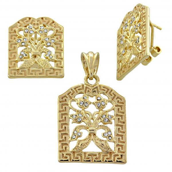 Gold Layered 5.046.010 Earring and Pendant Adult Set, Flower Design, with  Crystal, Golden Tone