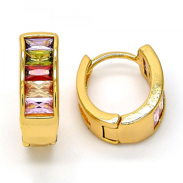 Gold Layered 02.237.0024.15 Huggie Hoop, with Multicolor Cubic Zirconia, Polished Finish, Gold Tone