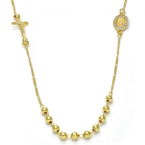Gold Layered 04.253.0001.20 Thin Rosary, Crucifix and Guadalupe Design, with White Micro Pave, Polished Finish, Golden Tone
