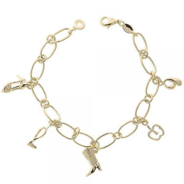 Gold Layered 5.021.010.1 Charm Bracelet, Apple and Shoes Design, Diamond Cutting Finish, Golden Tone