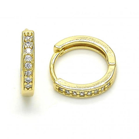Gold Layered 02.99.0040.15 Small Hoop, with White Cubic Zirconia, Polished Finish, Golden Tone
