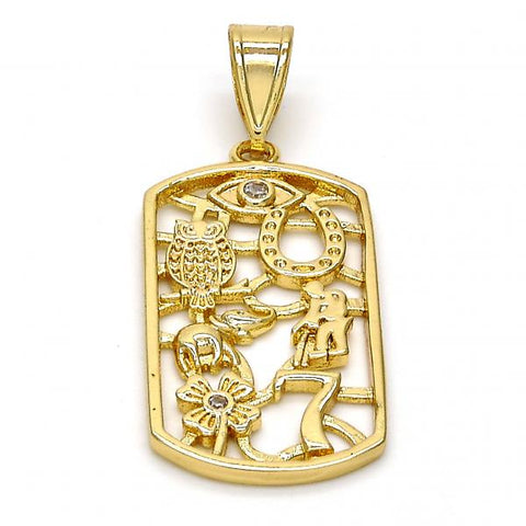 Gold Layered 05.253.0006 Religious Pendant, Owl and Little Boy Design, with White Cubic Zirconia, Polished Finish, Golden Tone