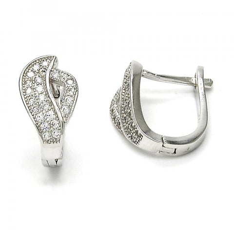 Sterling Silver 02.175.0097.15 Huggie Hoop, with White Micro Pave, Polished Finish, Rhodium Tone