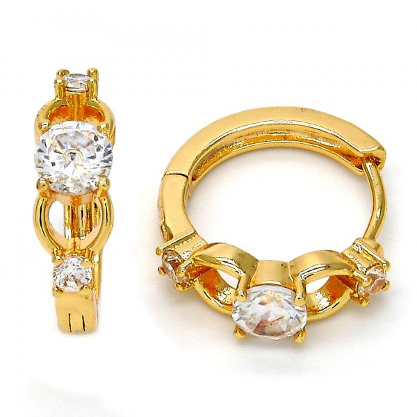 Gold Layered 02.196.0067.20 Huggie Hoop, with White Cubic Zirconia, Polished Finish, Golden Tone