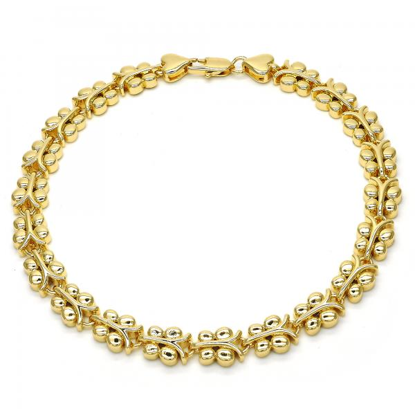 Gold Layered 03.210.0066.10 Fancy Anklet, Butterfly Design, Polished Finish, Golden Tone