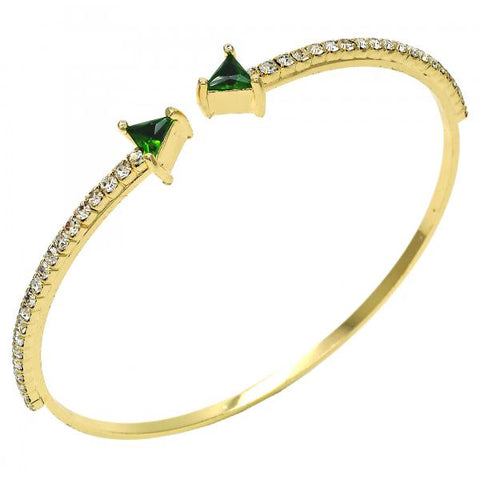 Gold Layered Individual Bangle, with Cubic Zirconia and Crystal, Golden Tone