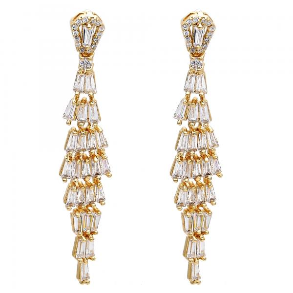 Gold Layered Long Earring, with Cubic Zirconia and Micro Pave, Golden Tone