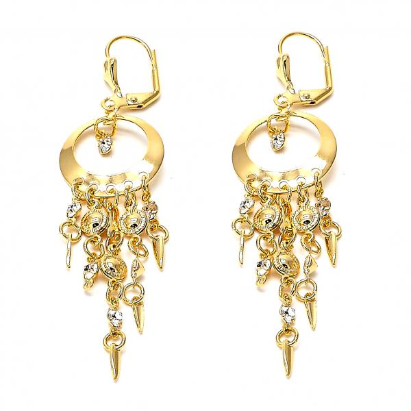 Gold Layered 086.006 Chandelier Earring, with White Cubic Zirconia, Polished Finish, Golden Tone