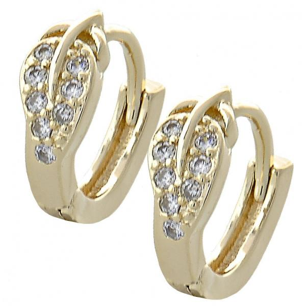Gold Layered 02.155.0050 Huggie Hoop, Leaf Design, with White Cubic Zirconia, Polished Finish, Golden Tone
