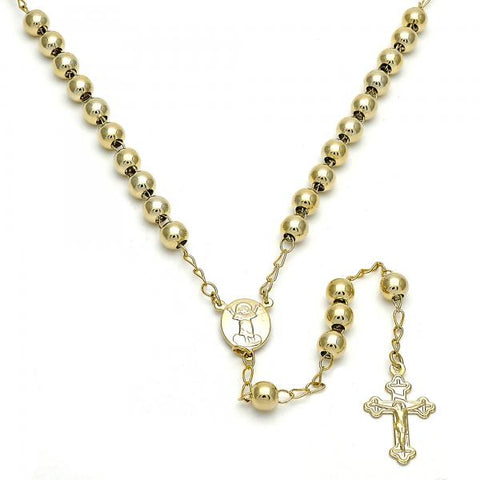Gold Layered 09.118.0012.24 Medium Rosary, Divino Niño and Crucifix Design, Polished Finish, Golden Tone